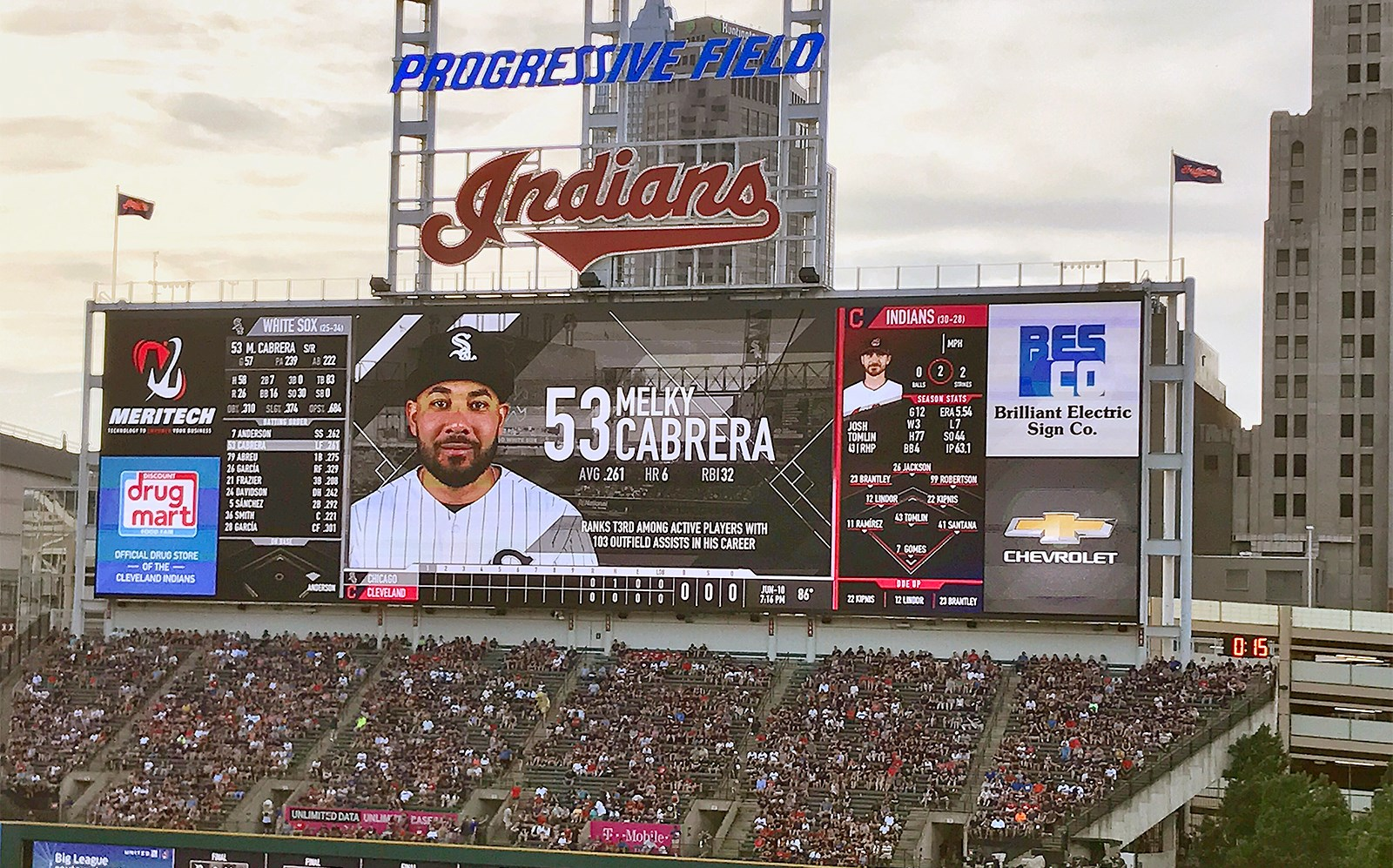 Brilliant Electric Sign Co Products Services Project Profiles About Us Contact Sports Facility Progressive Field Scoreboard Jpg